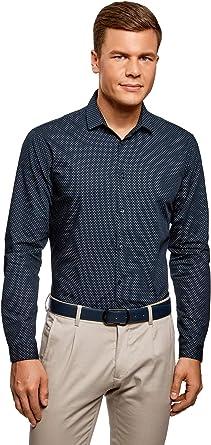 oodji Ultra Hombre Camisa Entallada de Algodón, Azul, сm 37 / ES 42 / XXS: Amazon.es: Ropa y accesorios