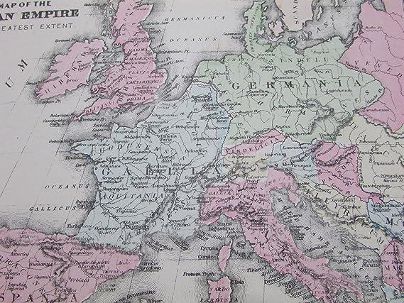 Amazon.com: Roman Empire Ancient Greece World Italy 1884 ...