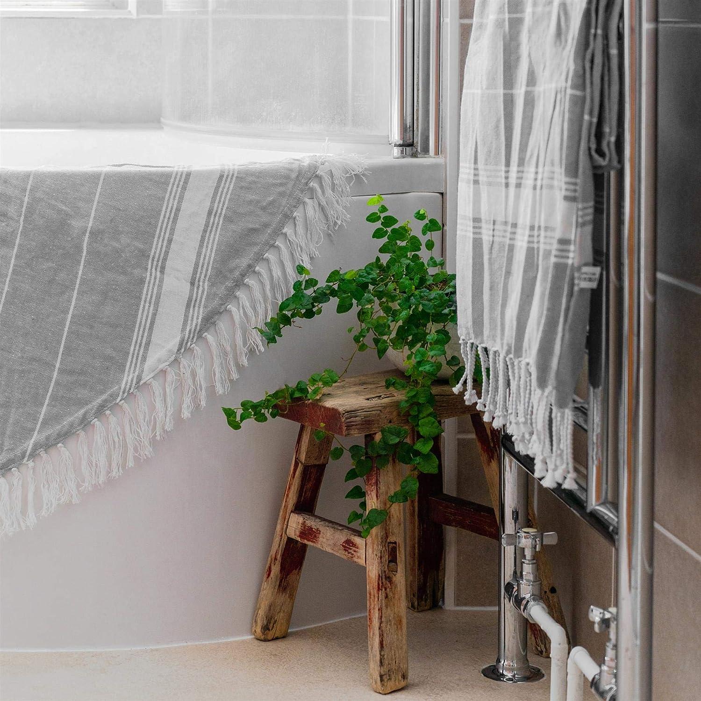 Hammam Peshtemal Fouta Style Throw Feuille Nicola Spring 100/% Serviette en Coton Turc Gris Plage Bain Gym Sauna