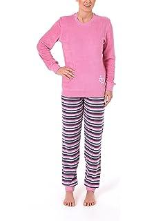 938810e3a0 Frottee Damen Schlafanzug mit Bündchen und Sternenmotiv - Hose Geringelt -  Rundhals 58485