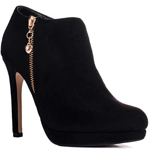 Spylovebuy Platform High Heel Stiletto Ankle Boots Shoes Black Suede Style SZ 6