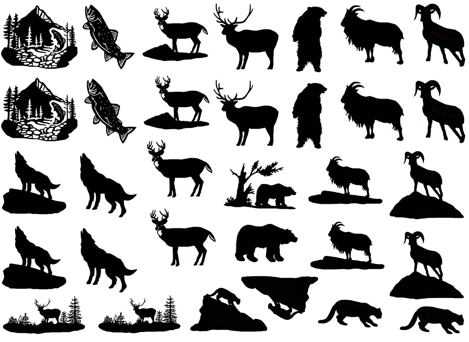 Rocky Mountain Animals 1' - Black 15CC453 Fused Glass Decals Captive Decals