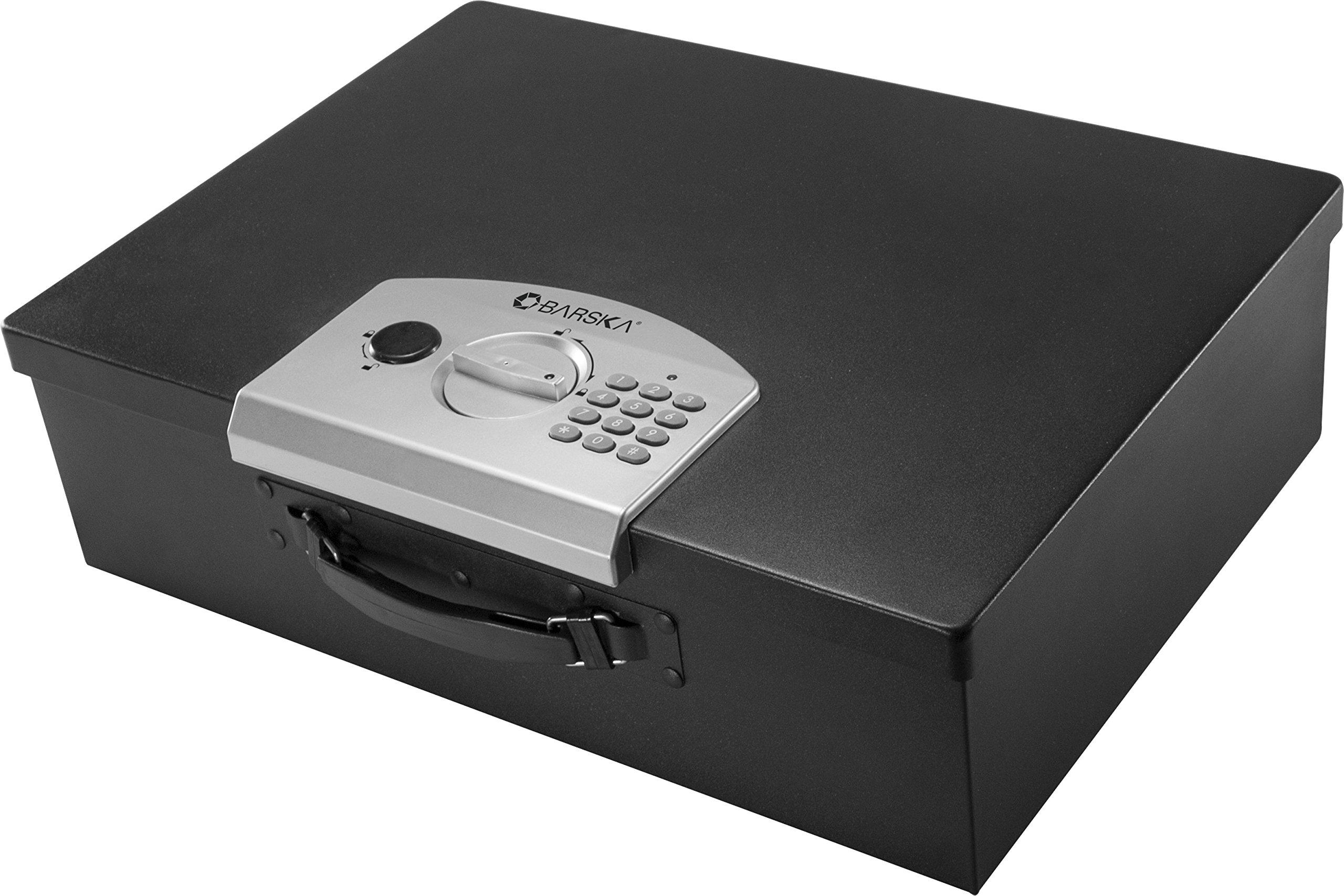 Portable Top Open Security Desk Drawer Safe Keypad Lock Box 17.5 in x 12.5 in x 5 in by BARSKA