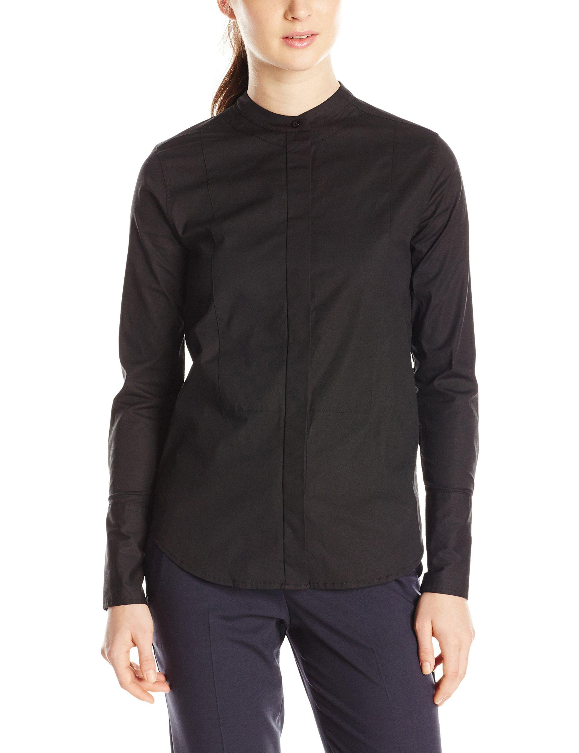 Dickies Girl Junior's Long Sleeve Mandarin Collar Bib Shirt, Black, X-Large by Dickies Girl (Image #2)