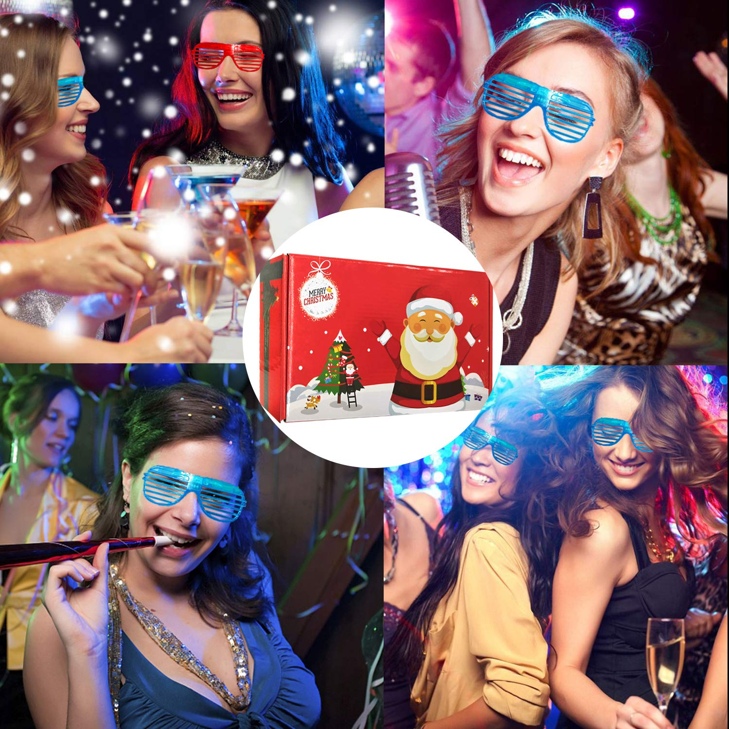 20 Pack Party Favors LED Light Up Glasses Glow in The Dark Party Supplies Toys Flashing Glasses Neon Shutter DJ SunGlasses Parties Decorations Holiday Birthday Gifts for Adult Kids by CHARMCZ (Image #6)