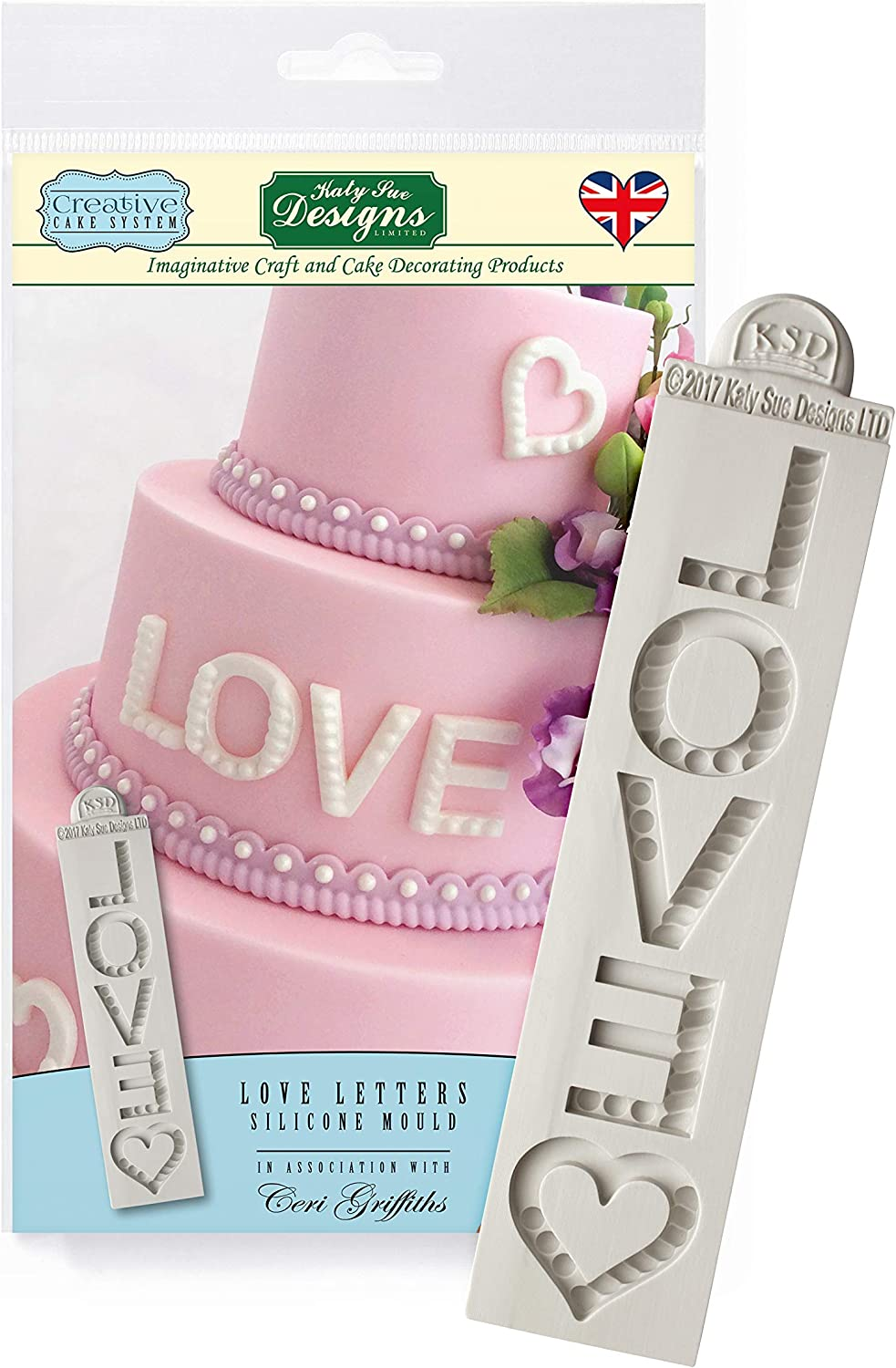 Katy Sue Love Letters Silicone Royal Icing Mold, Ceri Griffiths Creative Cake System for Decorating, Sugarpaste, Fondants and Candies, Food Safe