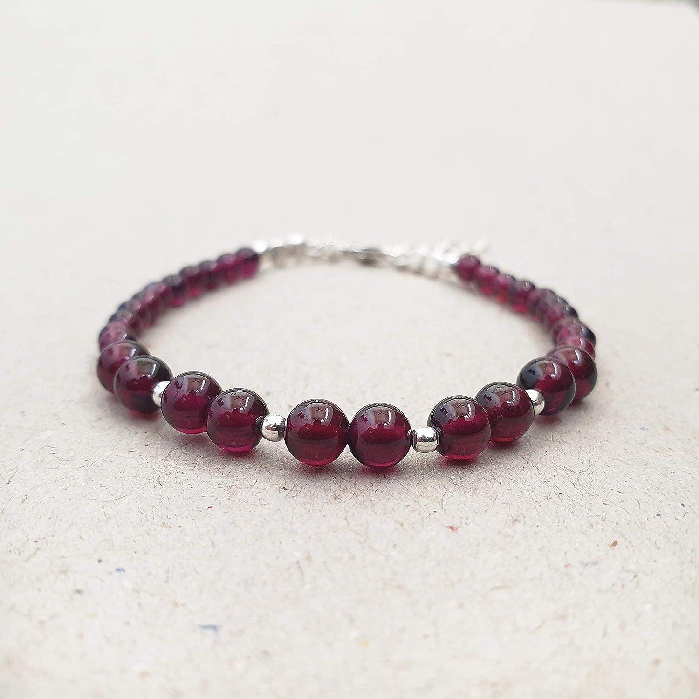 Yoga Gift January Birthstone Garnet Bracelet Gemstone Bracelet Women Gift Stress Relief Crystal Healing Stretch Bracelet