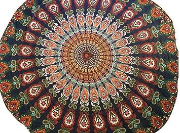 Toalla De Playa Redondo Patrón Totem Beach Mat Toalla Yoga Tippet Gasa Mantel Toalla Playa Grande Manteles Redondos Indian Tapestry Wall Hanging (D, ...