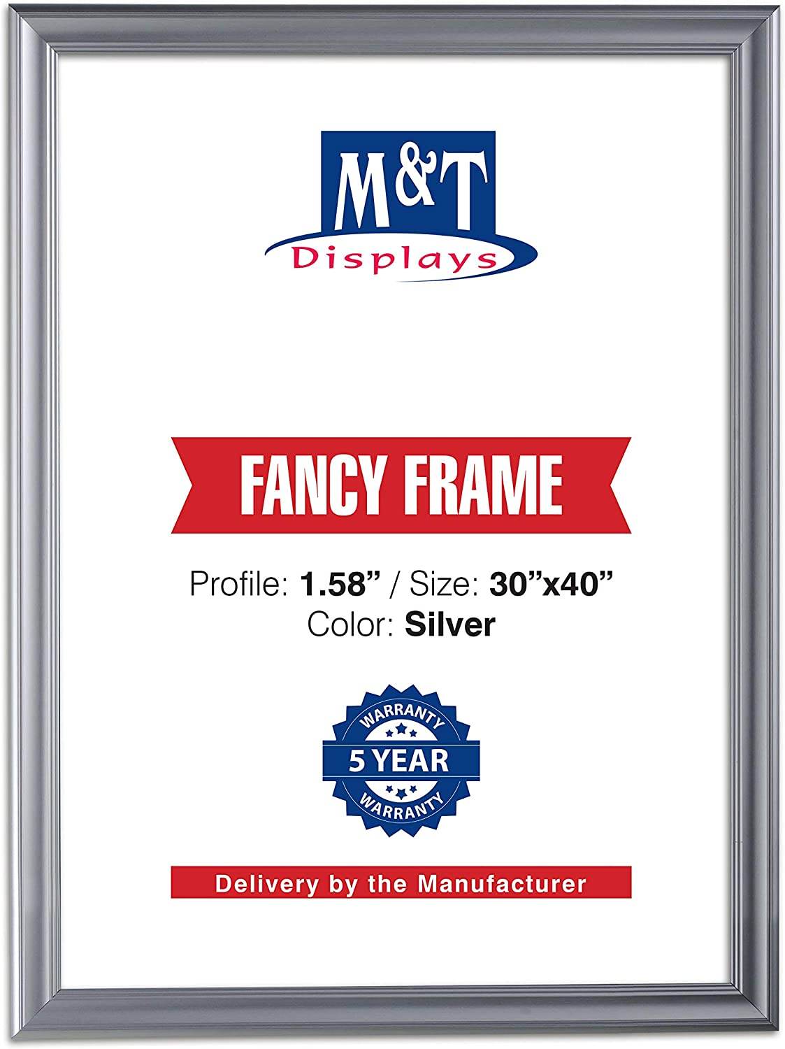 M/&T Displays Black 36x48 Picture Frame Made of 1.58 inches Aluminum Profile Front Loading Wall Mounting Fancy Snap Frame Display for Poster or Document with Mitered Corner