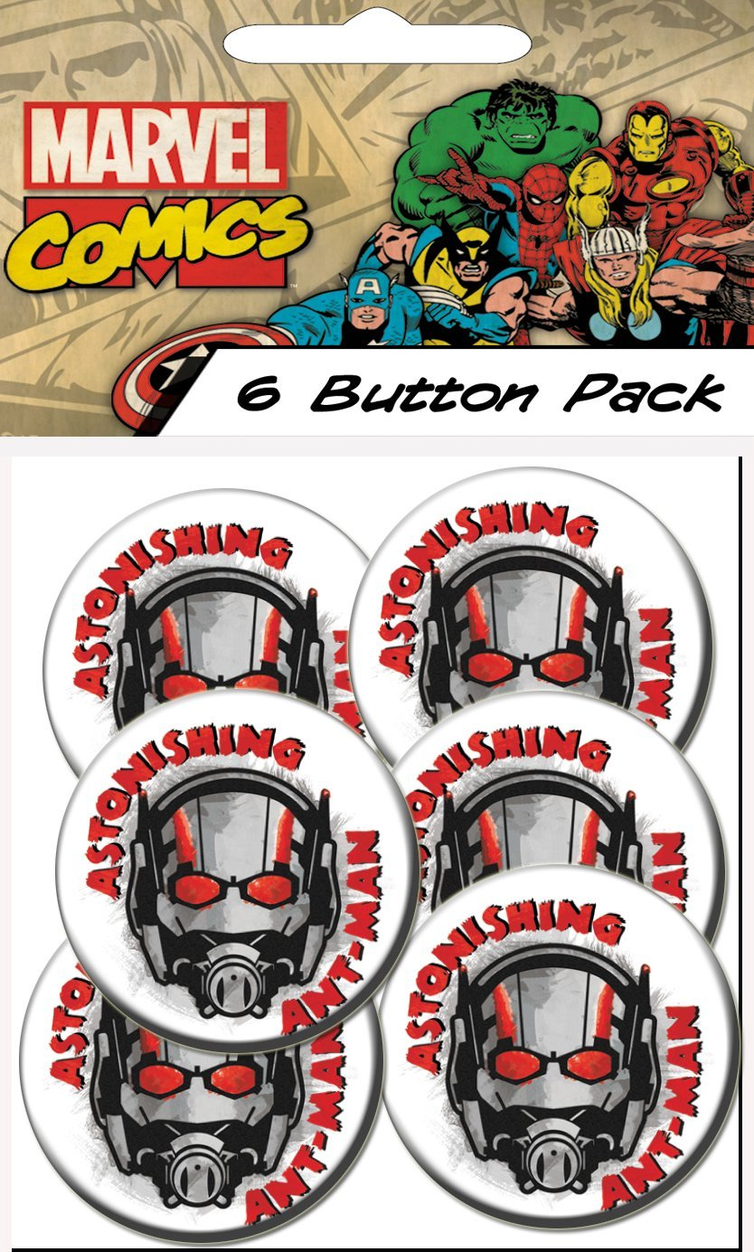 C D Visionary Ant Man Movie Astonishing Prepack Buttons 6 Piece 1.25