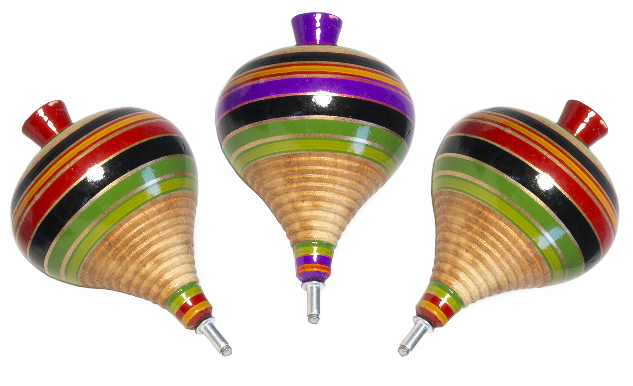 (3 Pack) Classic Wooden Spinning Tops Trompo Premium Quality Finish Artisan Hand Made/ Trompo de Madera Mexicano - The Best Quality Finish Handcrafted Tops - Trompos de Madera (Assorted Colors)