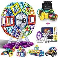 COOLJOY Jeu de Blocs de Construction Magnétique 3D avec Chiffre et Lettre en Plastique, Jouet Éducatif et Créatif pour enfants plus de 3 ans - 100 Pièces