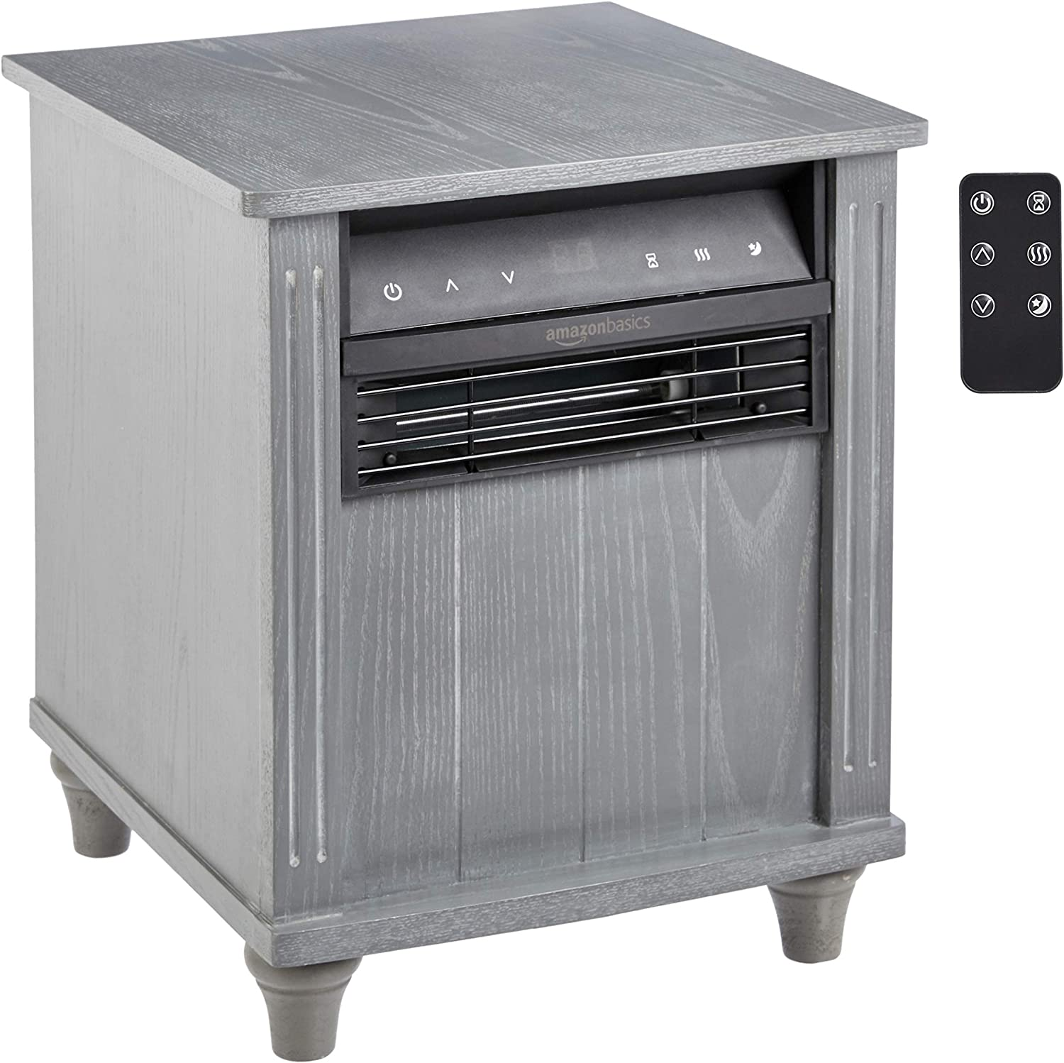 AmazonBasics Cabinet Style Space Heater, Grey Wood Grain Finish, 1500W