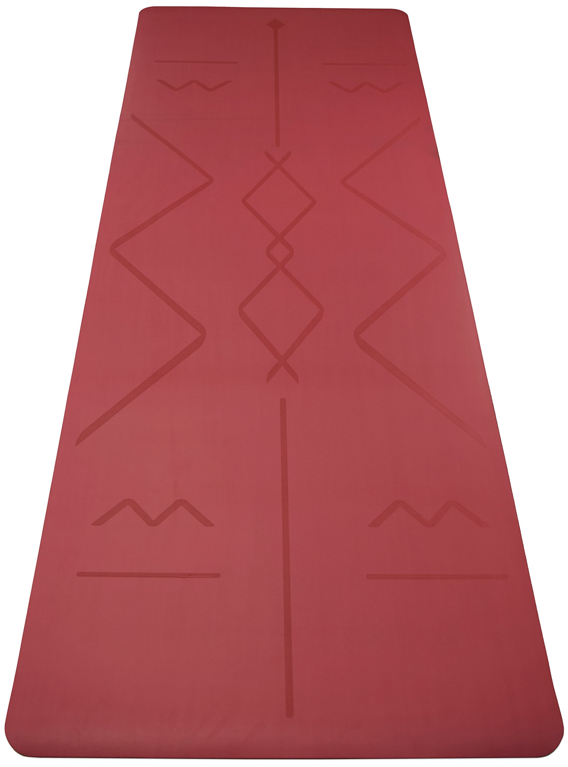 Box of 4 - RED Original OMphibian Yoga Mat with Laser Etched Alignment Lines – The Best Non - Slip (Wet or Dry) Eco-Friendly Natural Rubber Base Yoga Mat with Laser Etched Alignment Lines