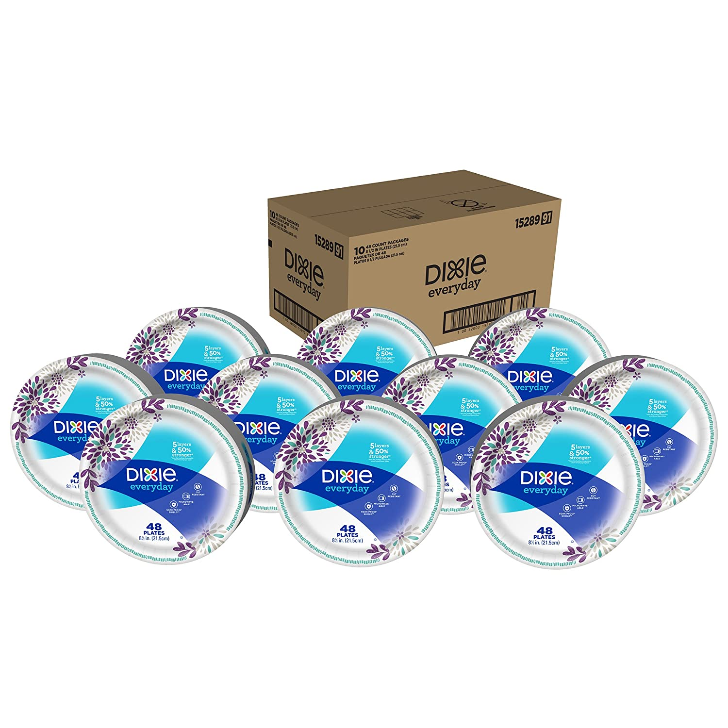 Dixie Everyday Paper Plates 8 1 2 480 Count 10 Packs of 48 Plates Lunch or Light Dinner Size Printed Disposable Plates
