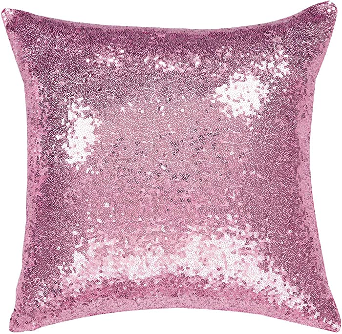 uxcell Sequin Throw Pillow Covers,Shiny Sparkling Comfy Satin Cushion Covers,Decorative Pillowcases for Party/Christmas/Thanksgiving/New Year,16 x 16 Inch, Shiny Pink