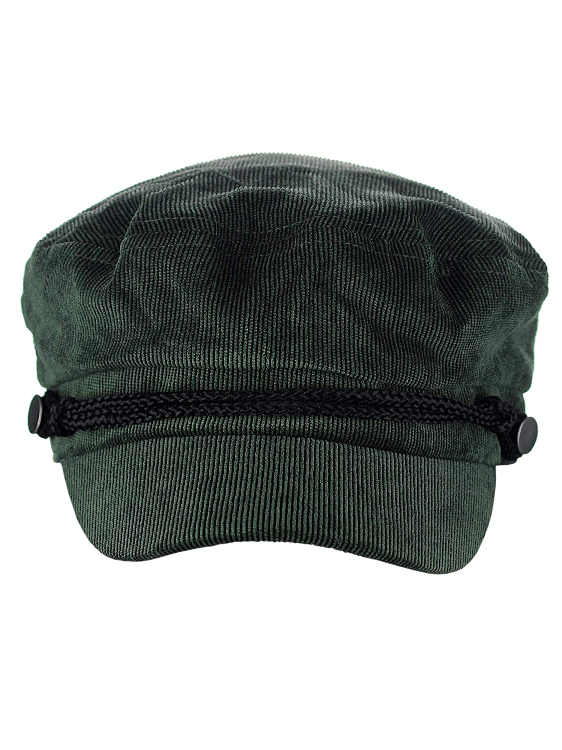 D/&Y Solid Corduroy with Rope Detailed Fisherman Cabbie Newsboy Cap