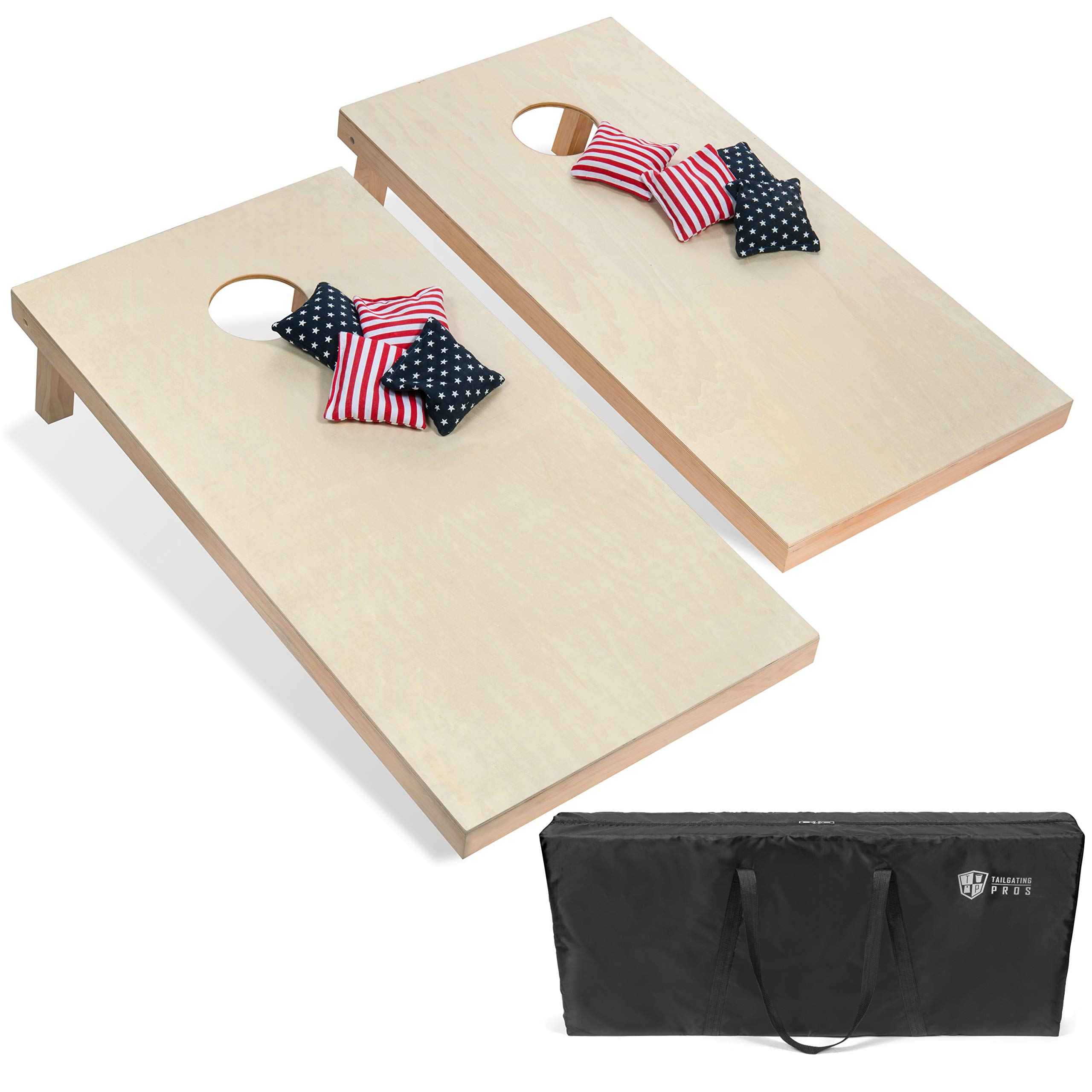 Tailgating Pros 4'x2' Cornhole Boards & Stars & Stripes Corn Hole Bags W/Carrying Case by Tailgating Pros