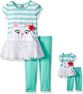 24f17b672e1bb Dollie & Me Girls' Drop-Waist Tunic With Legging and Matching Doll Outfit