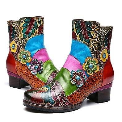 2614fb6379a133 Camfosy Bottines Cuir Talons Femmes, Chaussures de Ville Hiver à Talons  Carrés Moyens Bottes Fleurs