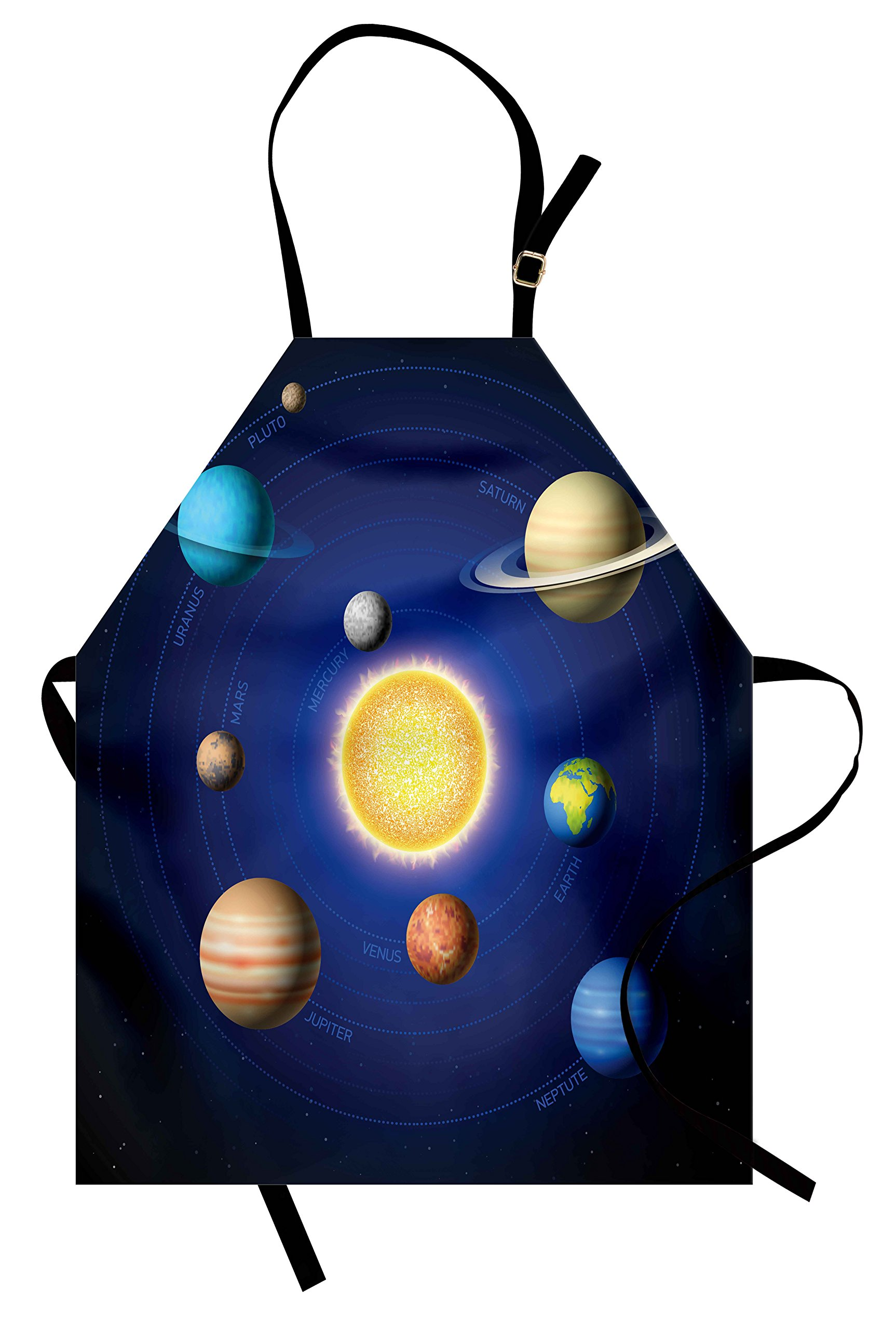 Ambesonne Space Apron, Solar System Illustration Showing Planets Around Sun Harmony of Galaxy Science Room Image, Unisex Kitchen Bib Apron with Adjustable Neck for Cooking Baking Gardening, Multi
