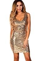 Babe Society Women's Sleeveless Fitted Sequin Party Dress