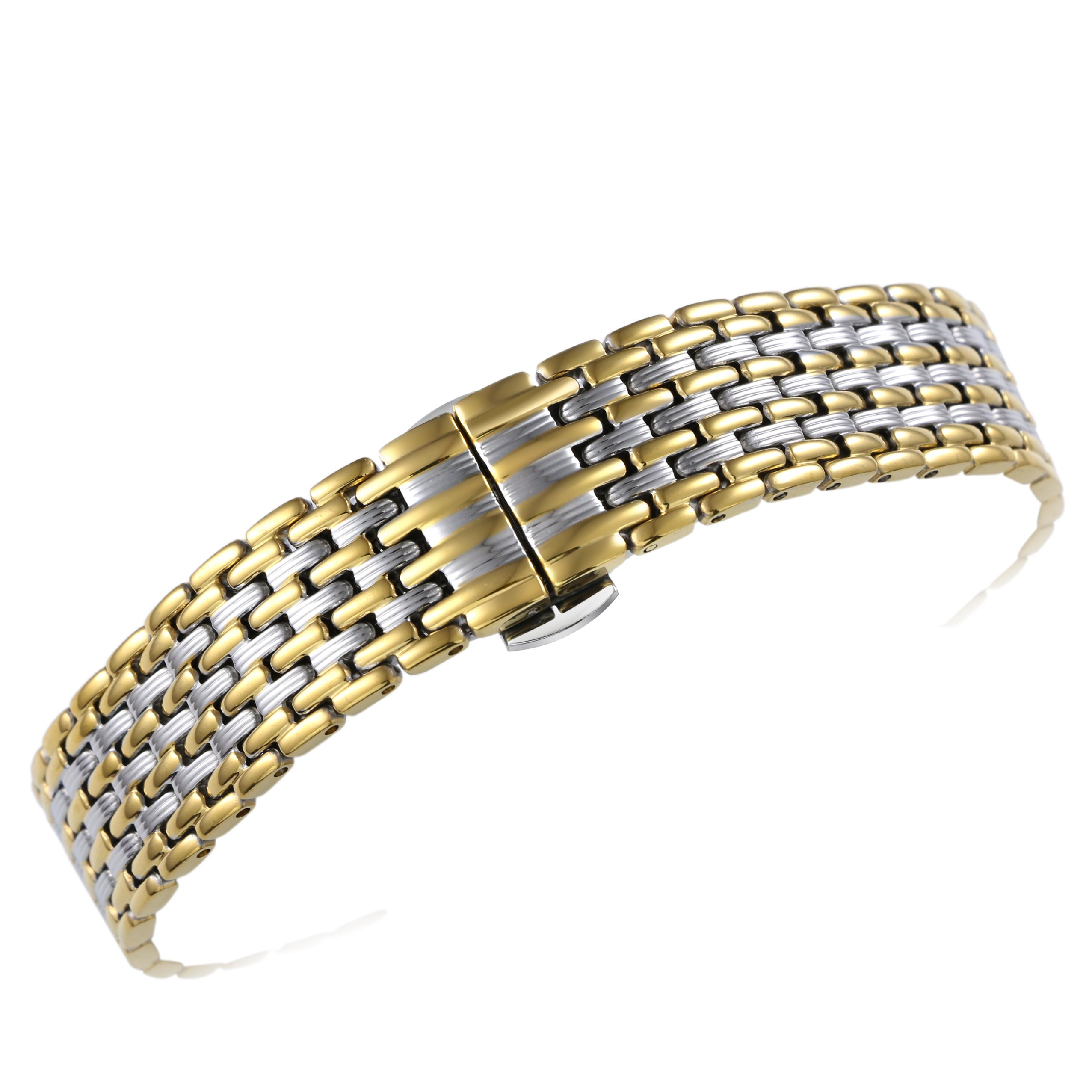 16mm Women's Elegant Two Tone Silver/Gold Metal Watch Bands Special Unique Pleated Pattern Solid 316L Stainless Steel