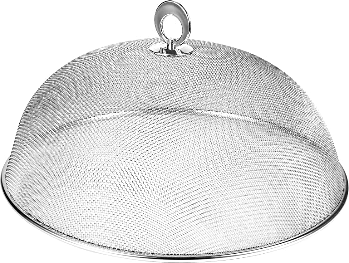 UPKOCH Stainless Steel Mesh Dome Food Cover Round Splatter Screen Anti-flies Foldable Food Tent For Home Kitchen (Silver Diameter 30CM)