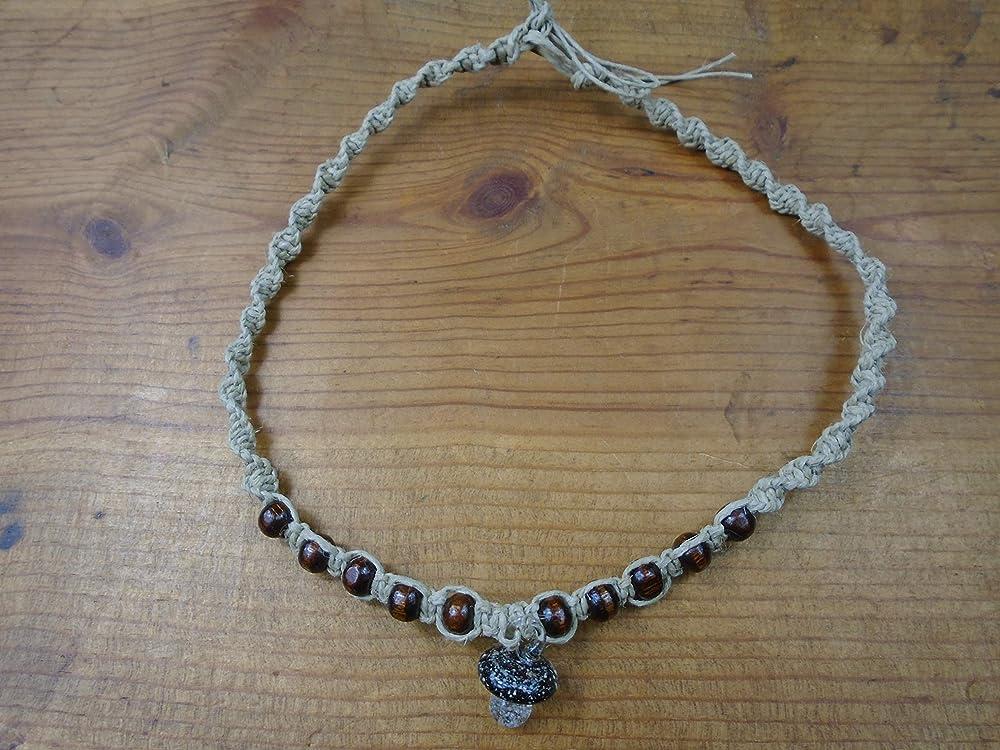 Custom Hemp Necklace with Glow in the Dark Green  Glass Mushroom Pendant Hippie Hemp Necklace Mushroom Pendant Hemp Jewelry Beach Boho