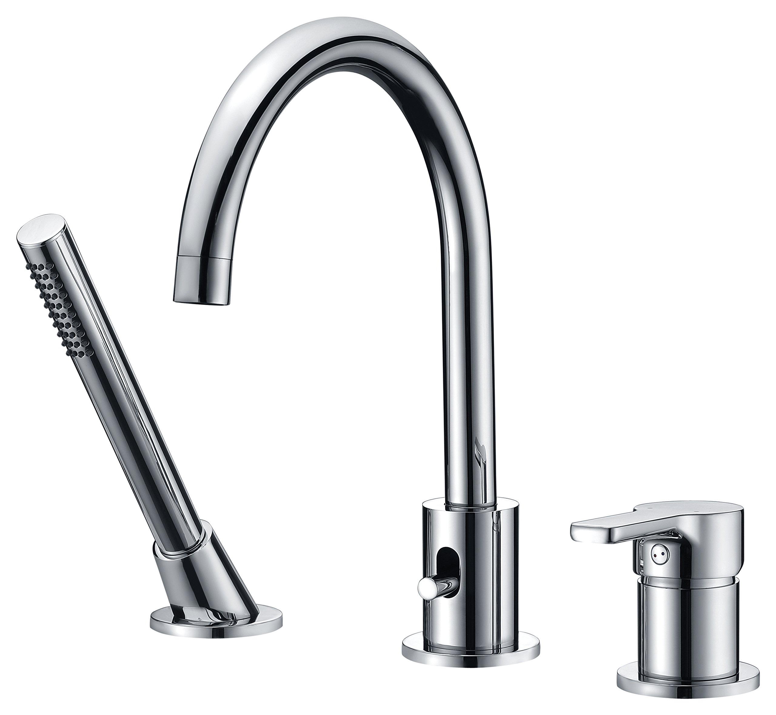 CREA Bathtub Faucet With Pull Out Sprayer 3 Hole Widespread Brass Bathroom Vanity Sink Tap Lavatory Faucet , Chrome by CREA (Image #1)
