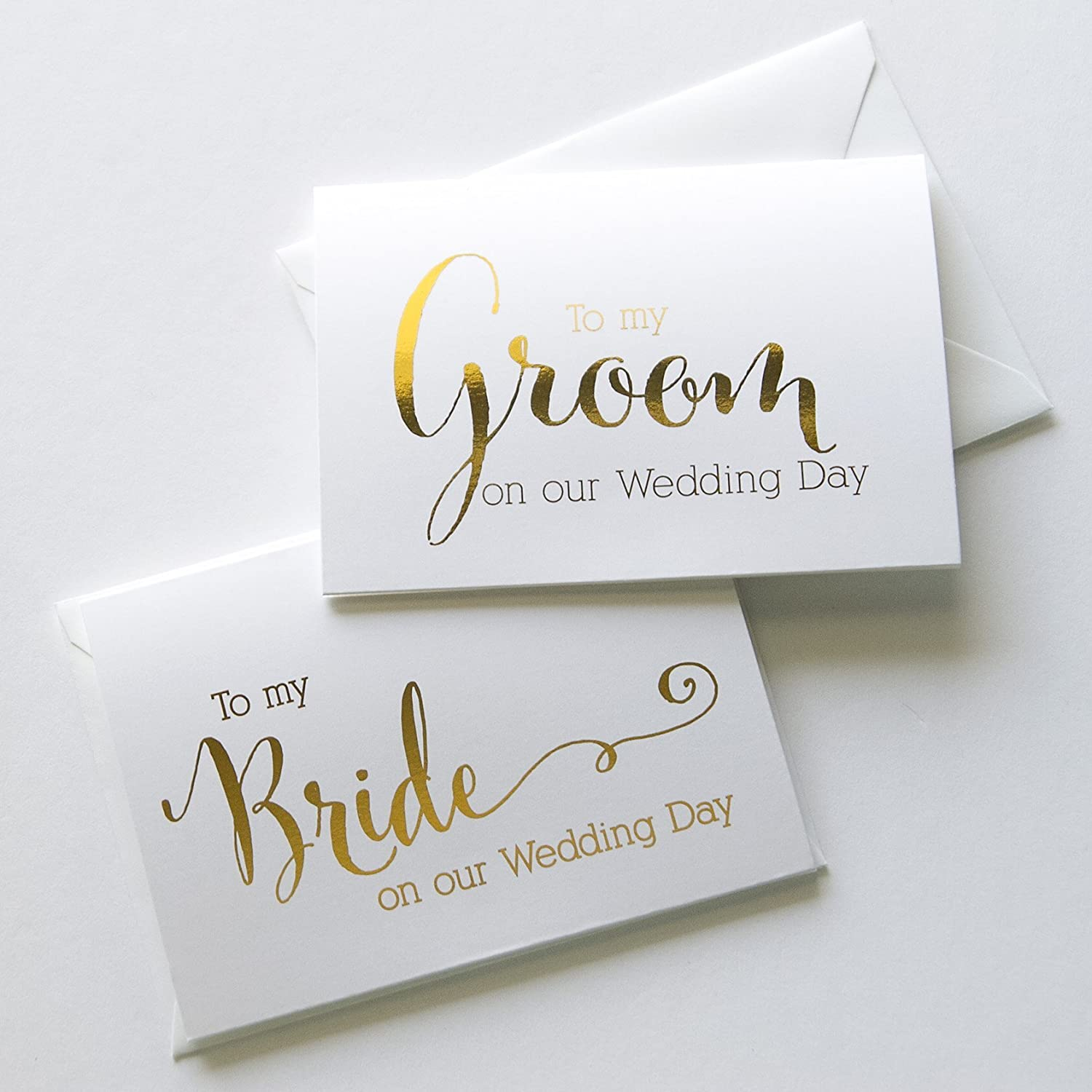 Wedding Day Foiled Card Set, To My Bride, To My Groom, Gold Foiled Vow Cards (WD182-183)