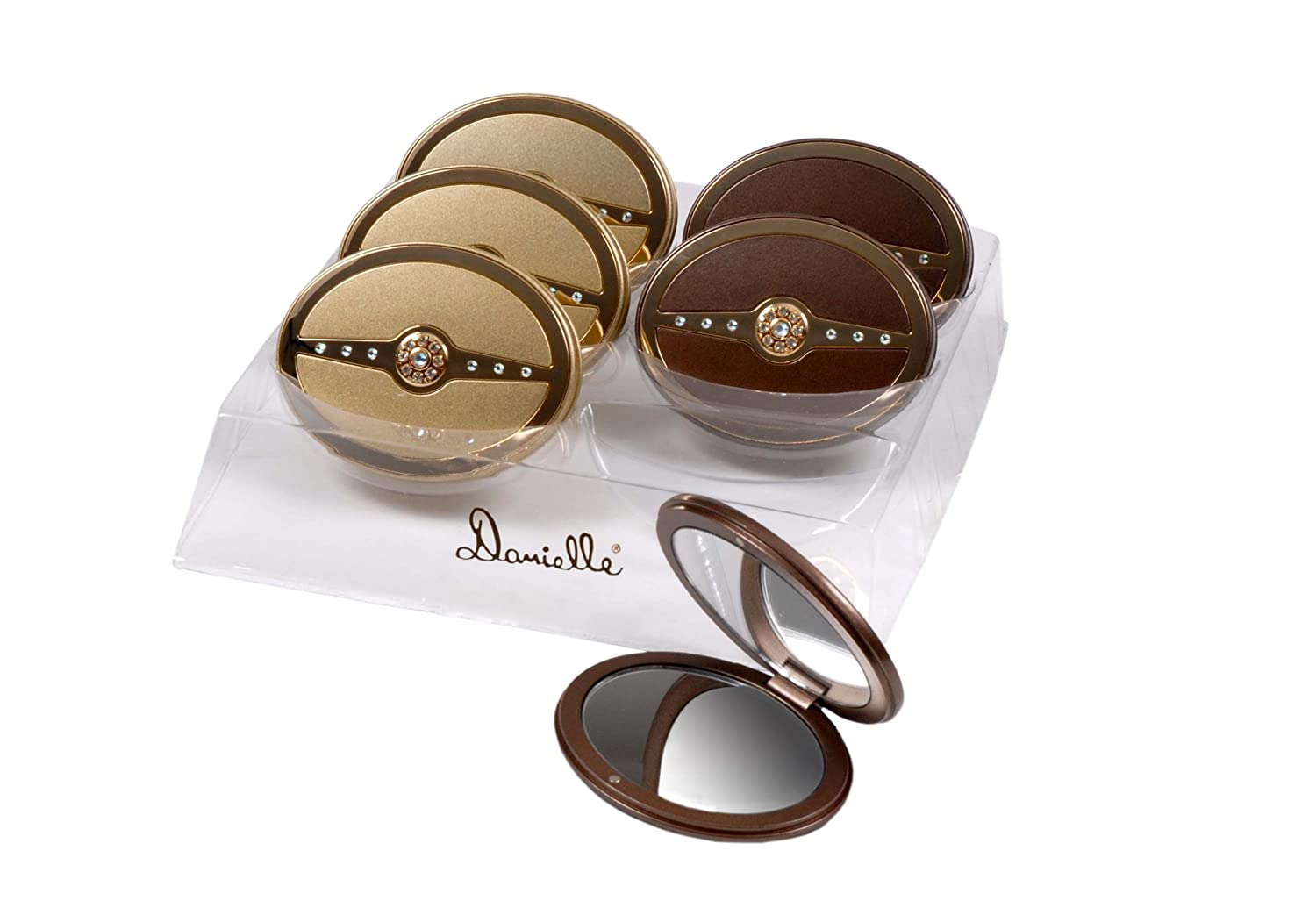 f414505caf Danielle 5x Magnification Swarovski Crystal Bar Oval Compact Mirror -  Champagne Gold or Mocha Gold: Amazon.co.uk: Beauty