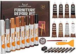 Katzco Total Furniture Repair Kit - Set of 34 - Resin Repair Wood Filler, Brushes, Markers with Plastic Scraper - for Stains, Scratches, Wood Floors, Tables, Desks, Carpenters, Bedposts