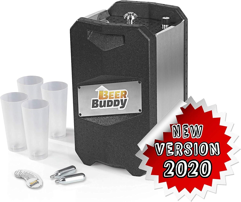 Beer Buddy Version 2020 Bottoms Up Beer Zapfanlage móvil, ya que sin electricidad. Para barriles de 5 litros. Paquete de iniciación con vasos reutilizables, cápsulas de CO2 e imanes.