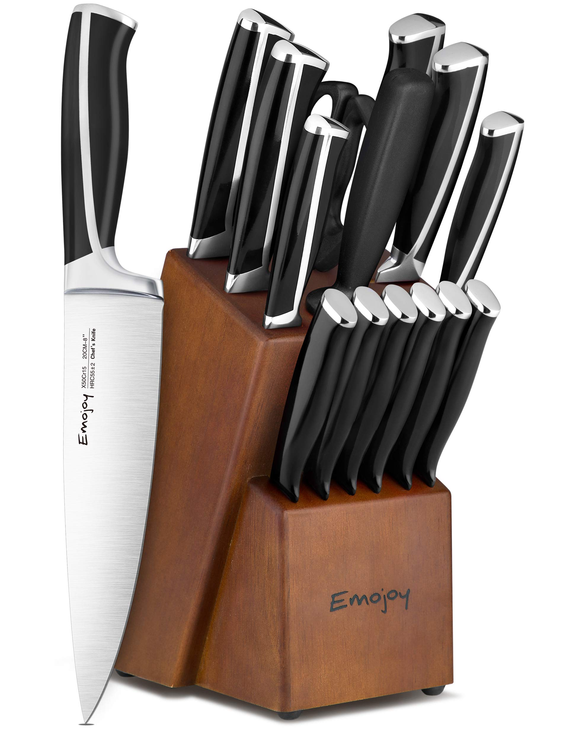 Emojoy Knife Set, 15-Piece Kitchen Knife Set with Block, ABS Handle for Chef Knife Set, German Stainless Steel, by Emojoy (Black) by Emojoy  (Image #1)