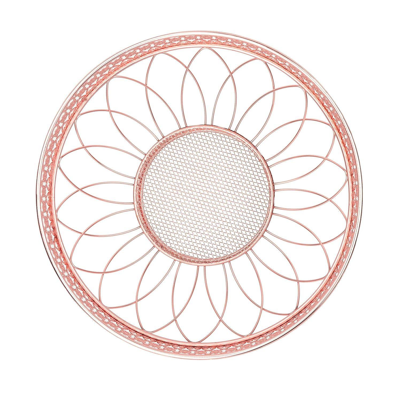 Roselife Metall Obstkorb Obstschale,Sch/üssel Rose Gold,obstschale,obst stander,obsthalter 28x 28x 14 Rose Gold Rose Gold, Silber