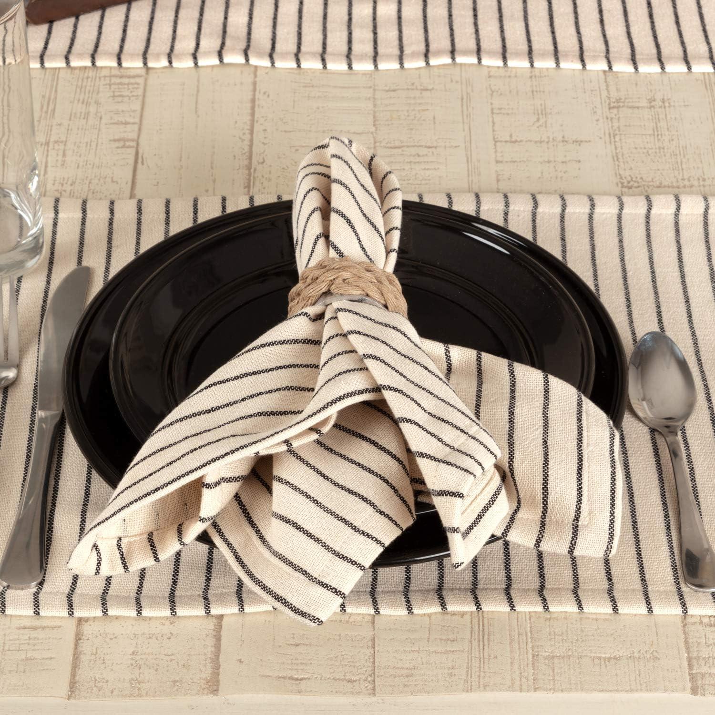 "Piper Classics Katie's Vintage Stripe Napkins, Set of 4, 18"" x 18"", Urban Rustic Famhouse Kitchen Dining Room Table Top Décor Cloth Napkin, Natural Cream w/Black Stripe"