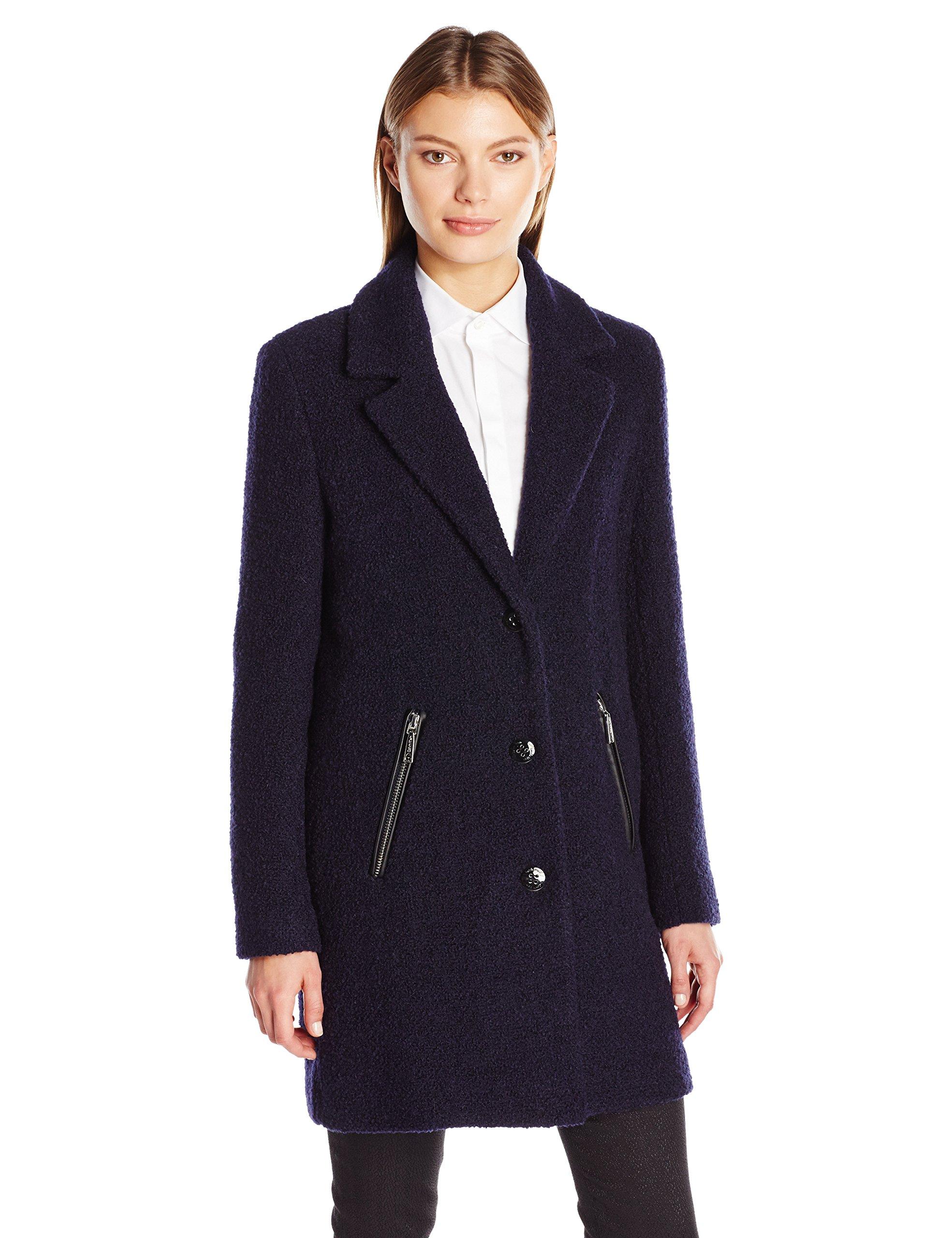 Calvin Klein Women's Boucle 3 Wool Coat with Button Closure, Indigo, M