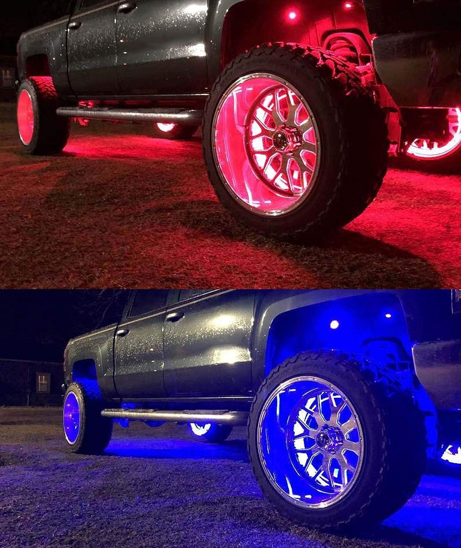 Exerock 4pc 15.5 Adjustable LED Wheel Light Illuminated Wheel Ring Lights Blue-Tooth App Control Multi-Colors Brightest Tire Lights