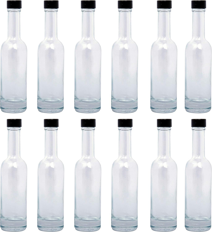 BELLE VOUS Botellas Vidrio (Pack de 12) - 150ml Mini Botellas de Cristal con Tapón Negro Rosca a Prueba de Goteos – Botella Vacia para Salsa Picante, Aceite, Aderezos, Especias y Líquidos