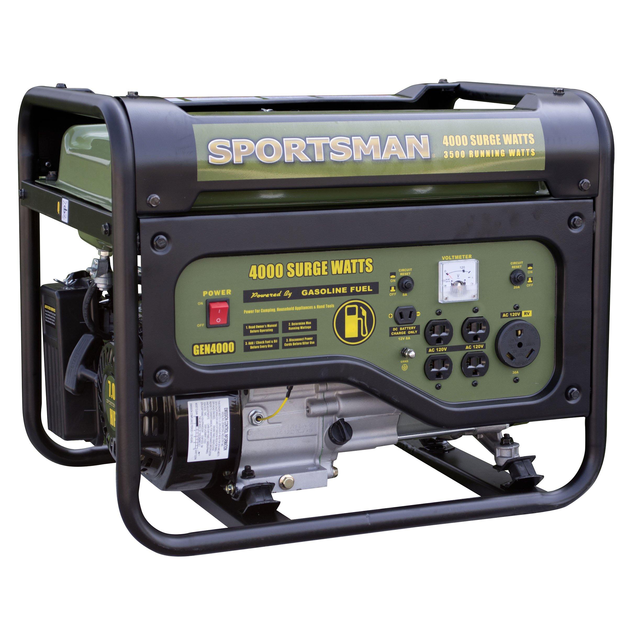 Man Sports Sportsman GEN4000, 3500 Running Watts/4000 Starting Watts, Gas Powered Portable Generator