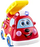 WolVol Cute Mini Fire Truck Toy for Kids with Lights and Sirens, Moves and rides on its own, English and Spanish Settings (can turn off the sounds while in action)