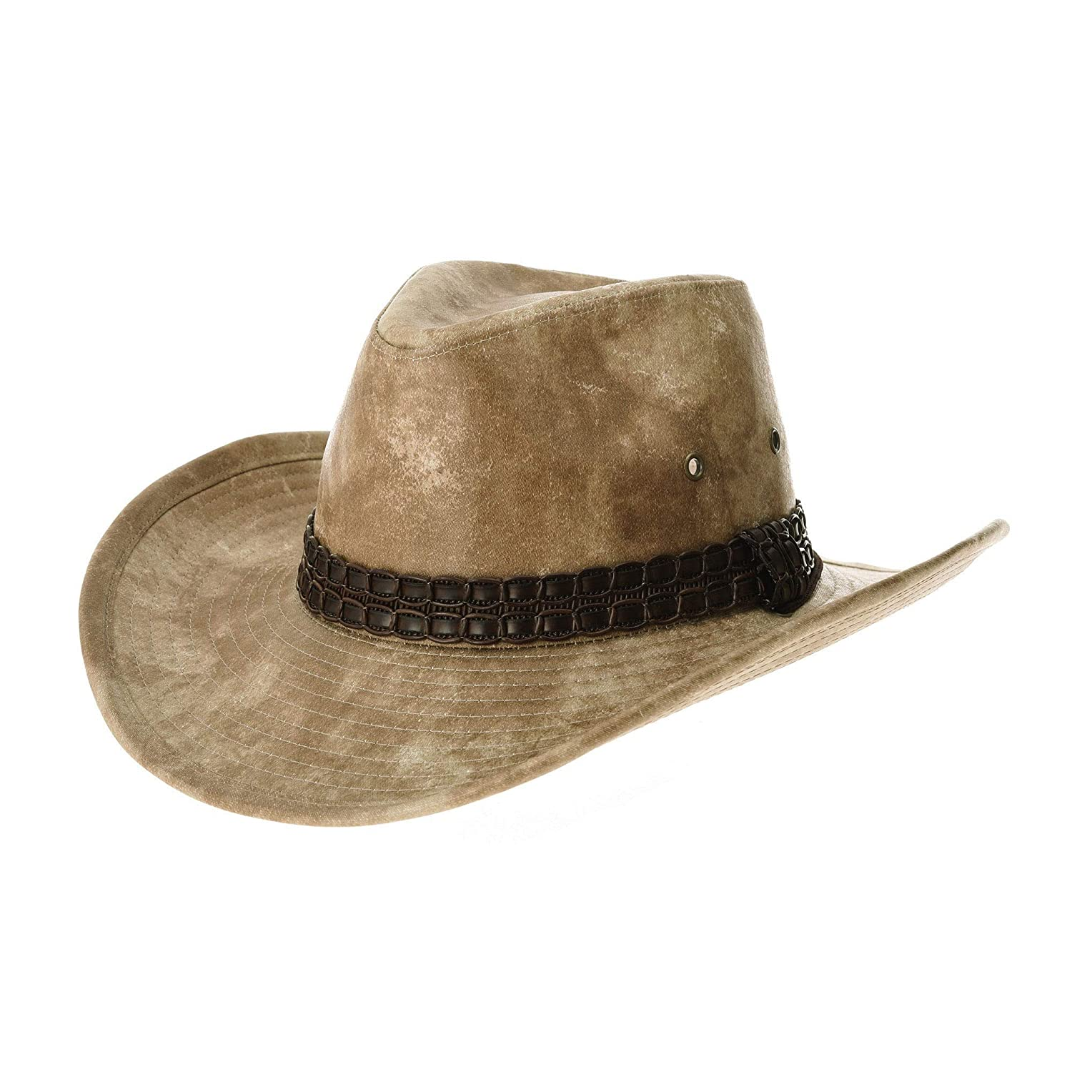WIM Sombrero de Cowboy Indiana Jones Hat Weathered Faux Leather Outback Hat GN8749
