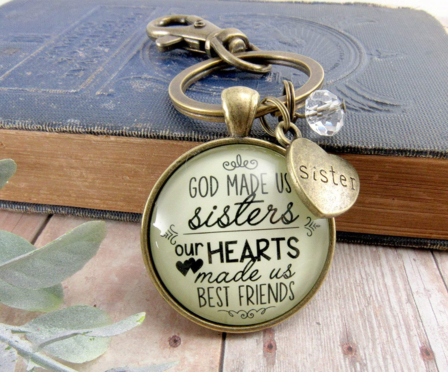 Sisters Keychain God Made Us Sisters Best Friends Bronze Faith Pendant Jewelry Heart Charm