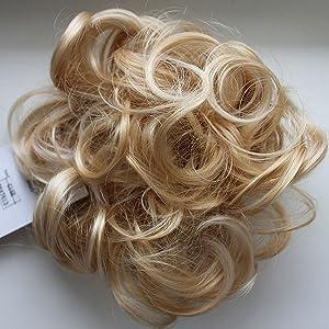 PRETTYSHOP Hairpiece Hair Rubber Scrunchie Scrunchy Updos VOLUMINOUS Curly Messy Bun Light blond G15E_86AT613