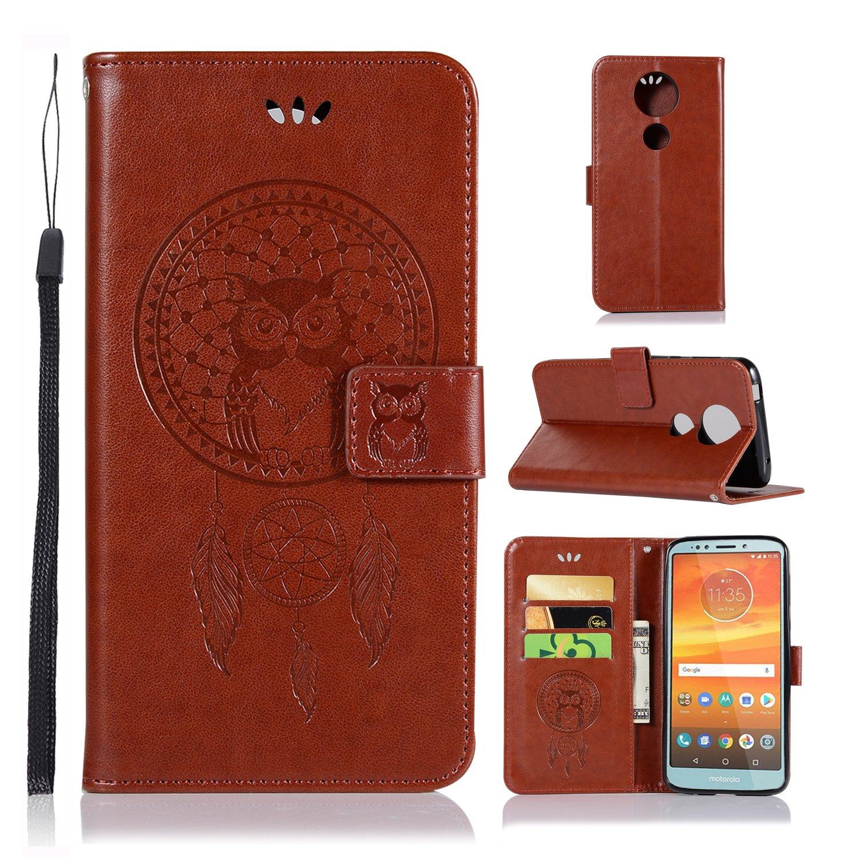 A-slim Moto E5 Plus Case, Moto E5 Supra Wallet Case, Moto E5 Plus PU Leather Case Flip Case Owl Dreamcatcher Embossed Purse Kickstand Cover Card Holders Hand Strap for Motorola Moto E5 Plus Black