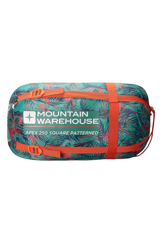 Tipo Momia para acampadas con ni/ños Cactus Talla /única Mountain Warehouse Minisaco de Dormir Estampado Apex para ni/ños Peso Ligero con Aislamiento de Fibra Hueca