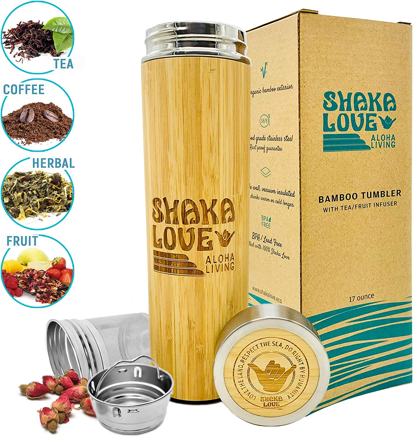 SHAKA LOVE Bamboo Tumbler with Tea Infuser & Coffee Brewer- 17 oz Stainless Steel Thermos Mug for Hot & Cold Brew Coffee, Vacuum Insulated Bottle Flask with Filter for Loose Leaf Tea & Fruit Infused
