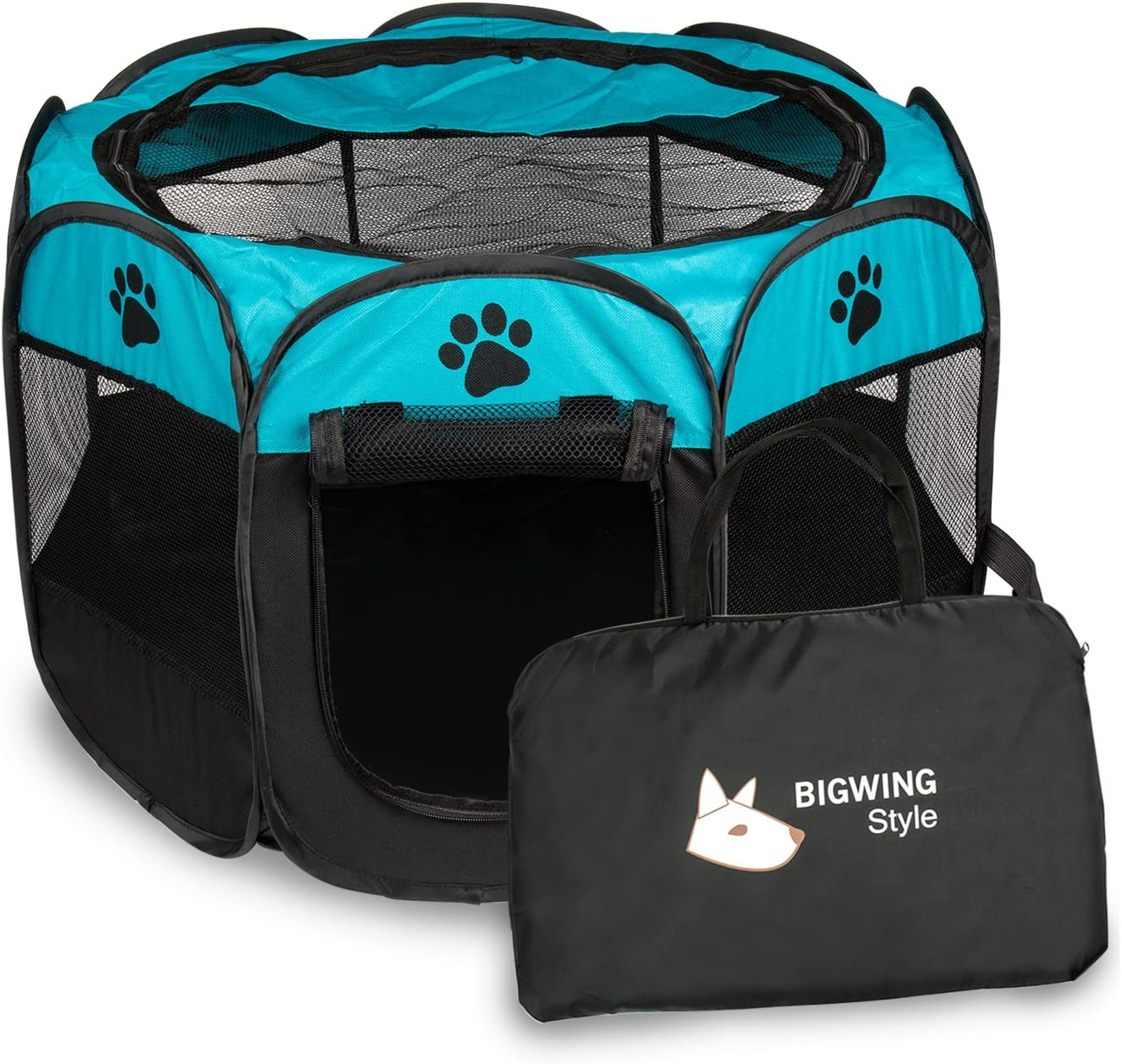 BIGWING Style Parque Mascota de Juego Entrenamiento Dormitorio Perro Gato Conejo Octágono Plegable Lavable Durable 73x 73x 43 CM, Negro y Azúl