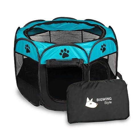 Parque Mascota de Juego Entrenamiento Dormitorio Perro Gato Conejo Octágono Plegable Lavable Durable 73x 73x 43 CM, Negro y Azúl